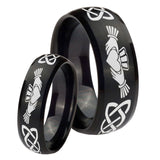 Bride and Groom Irish Claddagh Dome Brush Black Tungsten Rings for Men Set