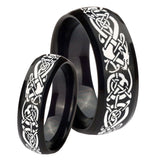 His Hers Celtic Knot Dragon Dome Brush Black Tungsten Wedding Band Ring Set