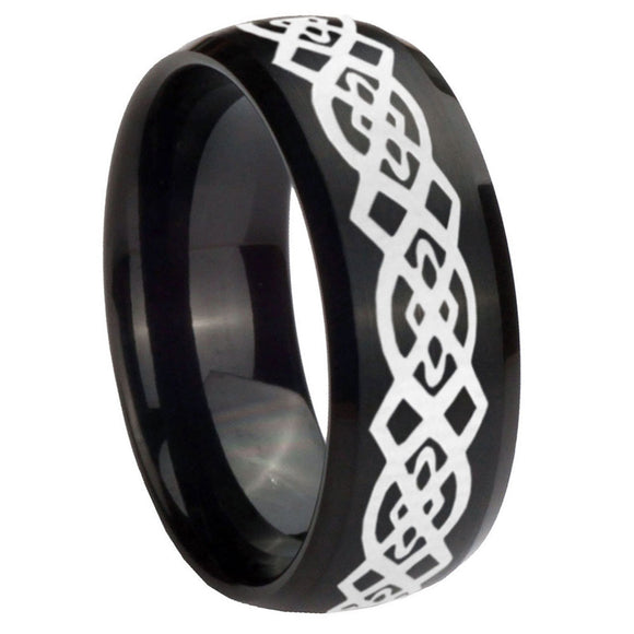 10mm Celtic Knot Dome Brush Black Tungsten Carbide Men's Engagement Ring