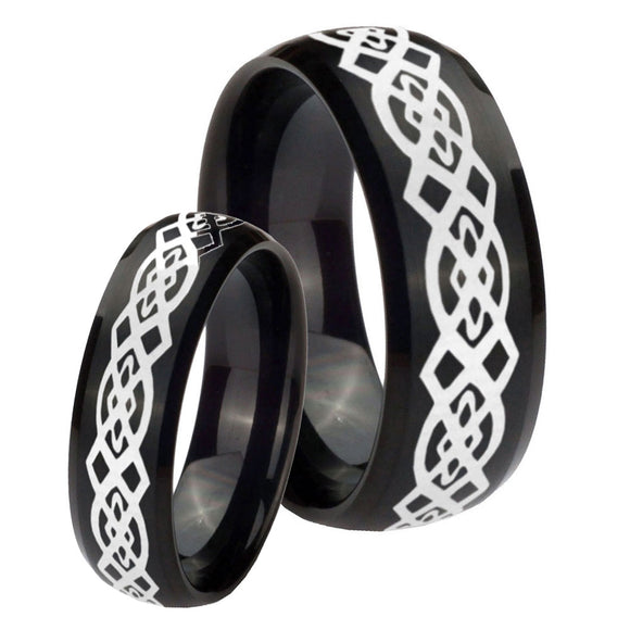 His Hers Celtic Knot Dome Brush Black Tungsten Wedding Engagement Ring Set