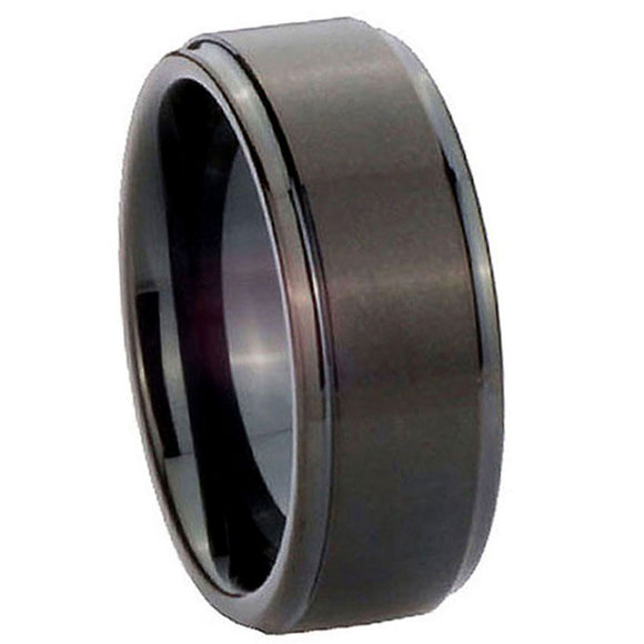 8mm Tungsten Carbide Brush Black Middle Step Edges Men Bands Ring