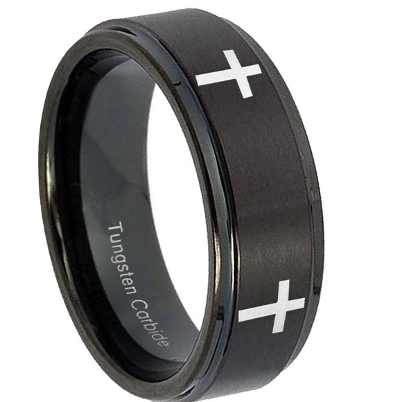 10mm Crosses Step Edges Brush Black Tungsten Carbide Mens Engagement Band