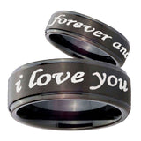 His Hers I Love You Forever and ever Step Edges Brush Black Tungsten Rings for Men Set