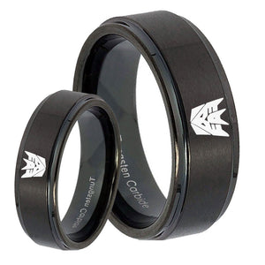 His Hers Decepticon Transformers Step Edges Brush Black Tungsten Ring Set
