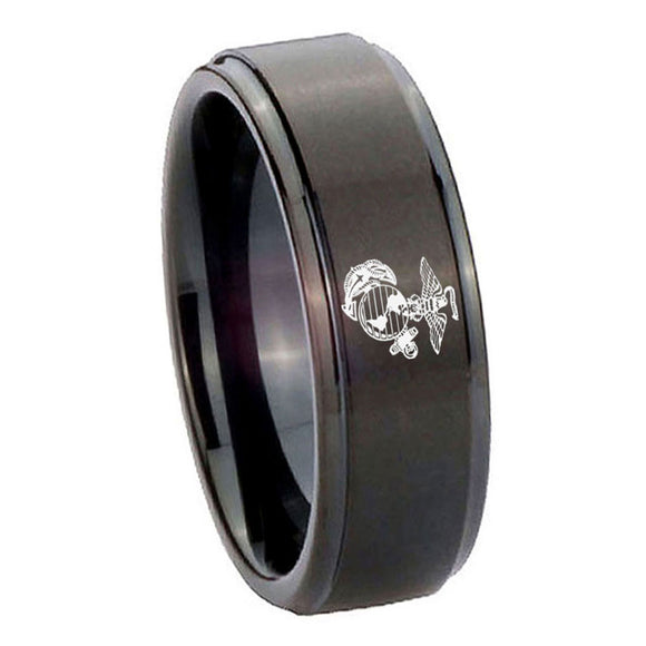 10mm Marine Step Edges Brush Black Tungsten Carbide Men's Wedding Band
