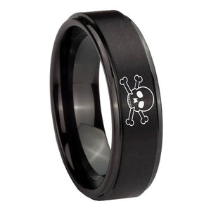 10mm Skull Step Edges Brush Black Tungsten Carbide Wedding Bands Ring