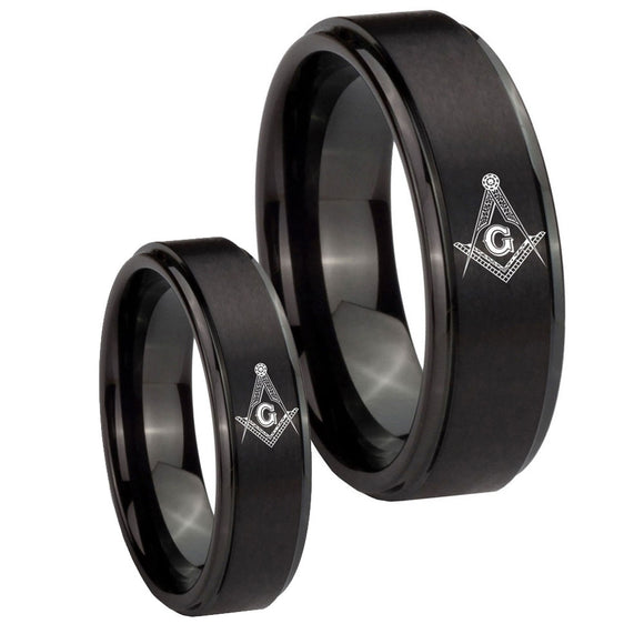 His Hers Master Mason Masonic Step Edges Brush Black Tungsten Engagement Ring Set