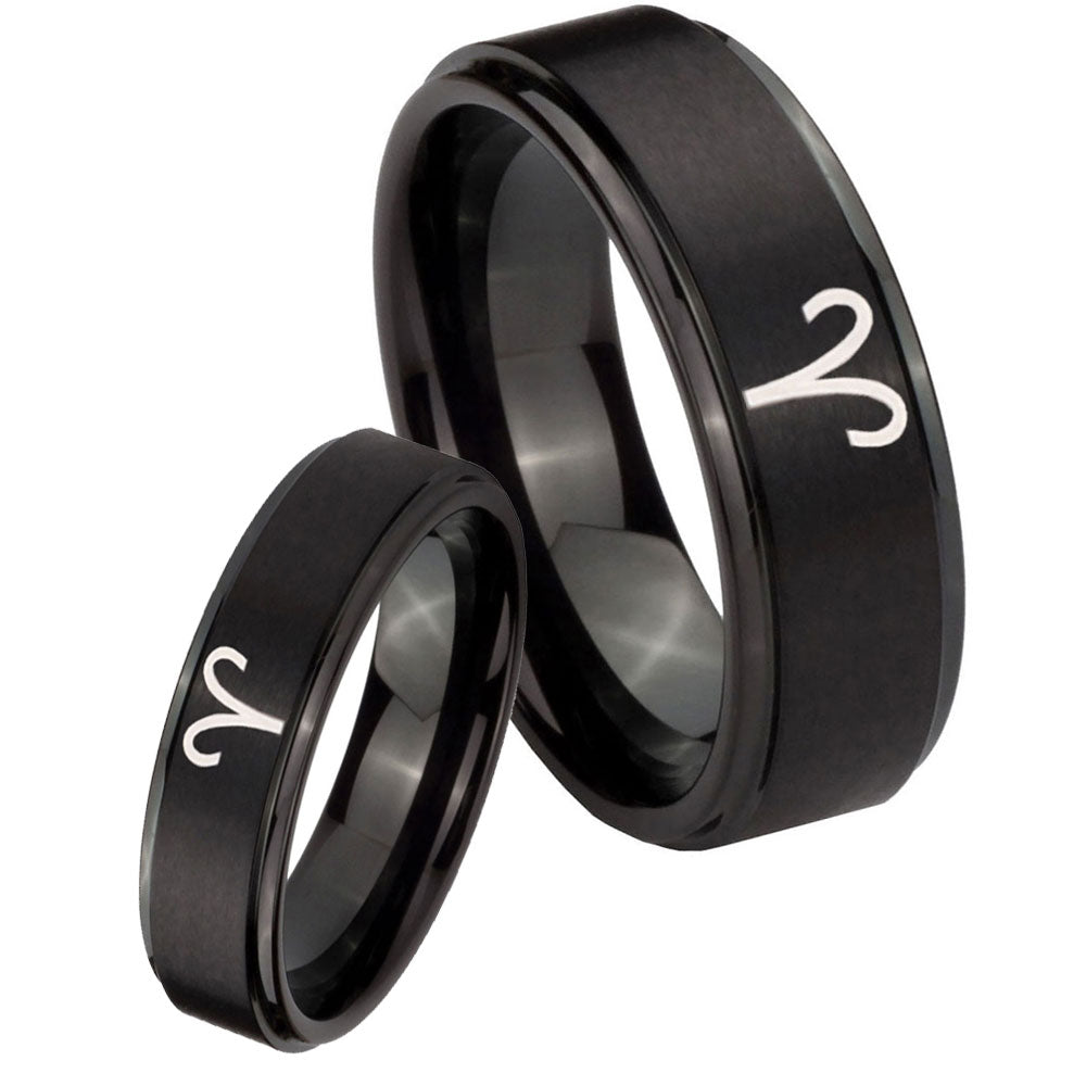 8MM Titanium 8 Aries Zodiac Brushed Black Dome Engraved Ring Size 7 to 13