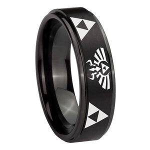 10mm Legend of Zelda Step Edges Brush Black Tungsten Men's Engagement Ring
