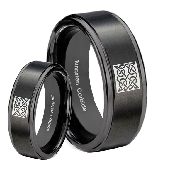 His Hers Celtic Design Step Edges Brush Black Tungsten Men's Band Ring Set