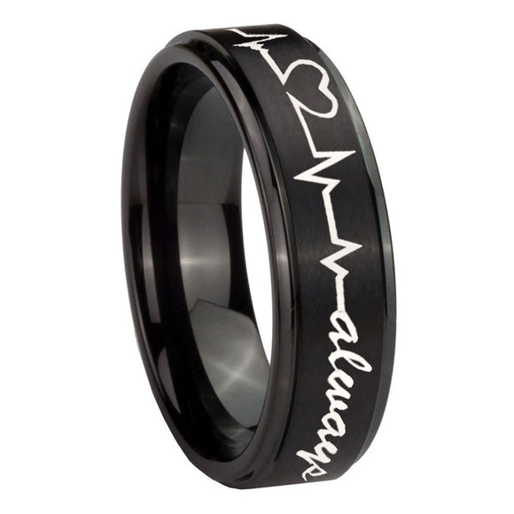 10mm Heart Beat forever Heart always Step Edges Brush Black Tungsten Bands Ring