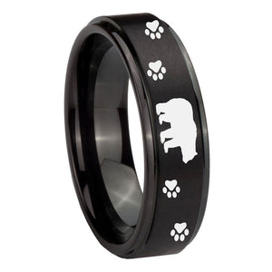 10mm Bear and Paw Step Edges Brush Black Tungsten Wedding Engraving Ring