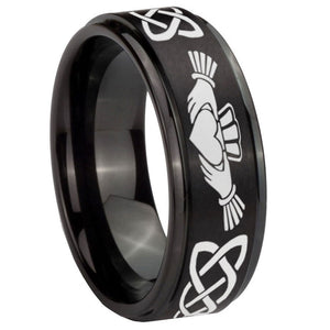 10mm Irish Claddagh Step Edges Brush Black Tungsten Carbide Men's Ring
