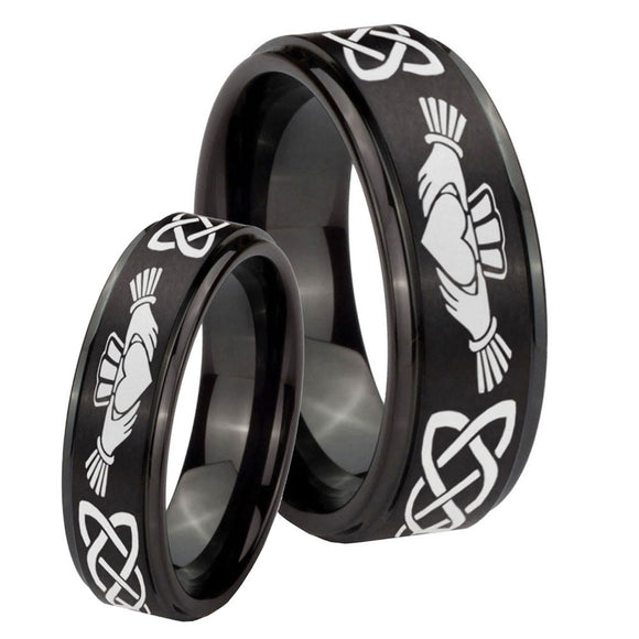 His Hers Irish Claddagh Step Edges Brush Black Tungsten Personalized Ring Set