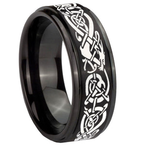 10mm Celtic Knot Dragon Step Edges Brush Black Tungsten Men's Engagement Band