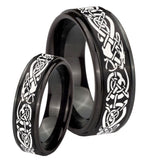 His Hers Celtic Knot Dragon Step Edges Brush Black Tungsten Rings for Men Set