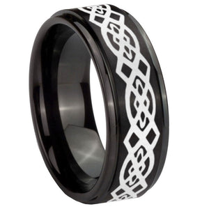 10mm Celtic Knot Step Edges Brush Black Tungsten Carbide Mens Engagement Ring