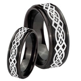 His Hers Celtic Knot Step Edges Brush Black Tungsten Wedding Band Ring Set