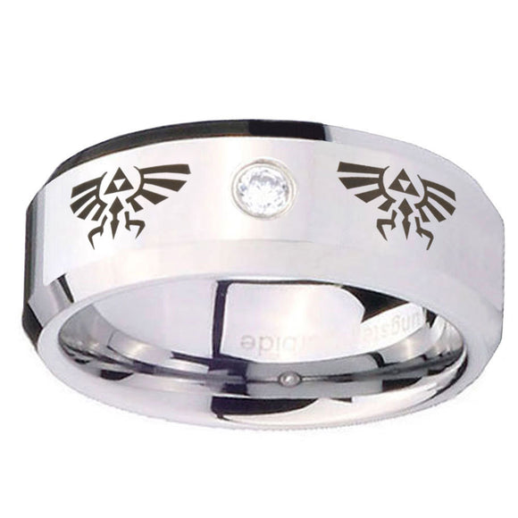 8mm Zelda Beveled Edges Silver Tungsten Carbide CZ Wedding Engraving Ring