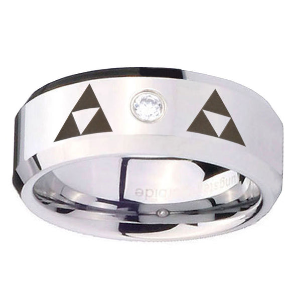 8mm Triangle Zelda Beveled Edges Silver Tungsten Carbide CZ Bands Ring