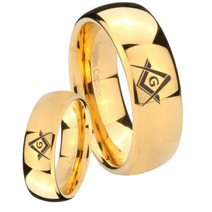 Bride and Groom Freemason Masonic Dome Gold Tungsten Mens Promise Ring Set