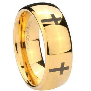 10mm Crosses Dome Gold Tungsten Carbide Men's Engagement Band
