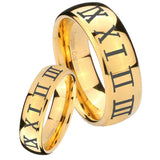 Bride and Groom Roman Numeral Dome Gold Tungsten Carbide Men's Bands Ring Set