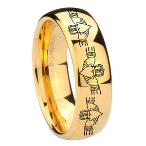 10mm Irish Claddagh Dome Gold Tungsten Carbide Personalized Ring