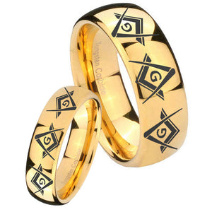 Bride and Groom Master Mason Masonic  Dome Gold Tungsten Anniversary Ring Set