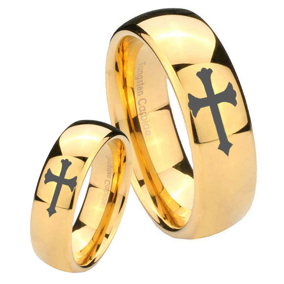 His and Hers Christian Cross Dome Gold Tungsten Wedding Engagement Ring Set