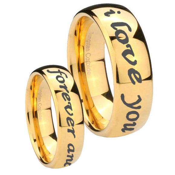 His Hers I Love You Forever and ever Dome Gold Tungsten Men's Wedding Ring Set