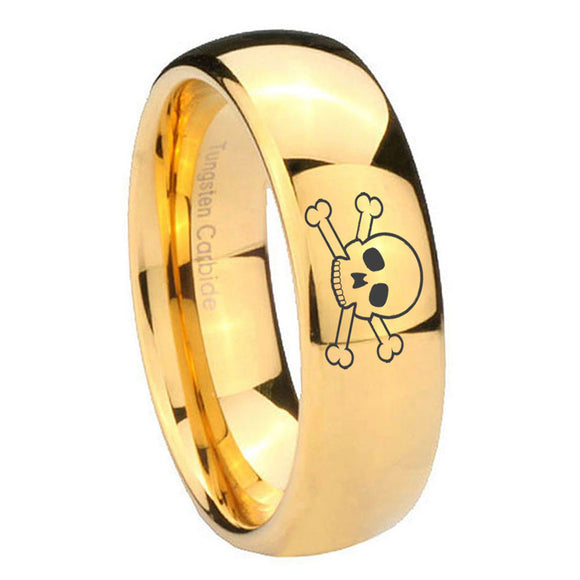 10mm Skull Dome Gold Tungsten Carbide Mens Ring Personalized