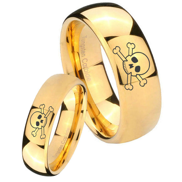 Bride and Groom Skull Dome Gold Tungsten Carbide Mens Promise Ring Set