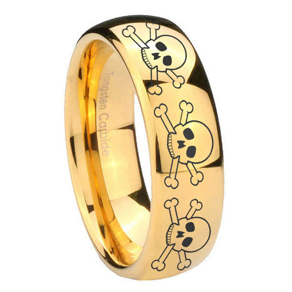 10mm Multiple Skull Dome Gold Tungsten Carbide Mens Bands Ring