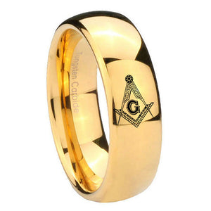 10mm Master Mason Masonic Dome Gold Tungsten Carbide Engraved Ring