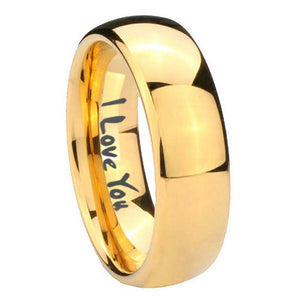 10mm I Love You Dome Gold Tungsten Carbide Mens Promise Ring