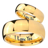 Bride and Groom I Love You Dome Gold Tungsten Carbide Mens Bands Ring Set