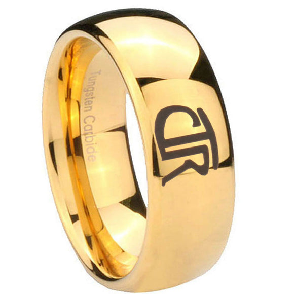 10mm CTR Dome Gold Tungsten Carbide Mens Ring Engraved