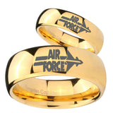 His Her Glossy Dome Air Force 14K Gold IP Tungsten Wedding Rings Set
