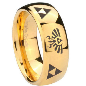 10mm Legend of Zelda Dome Gold Tungsten Carbide Mens Wedding Band