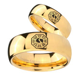 Bride and Groom Lost Dharma Dome Gold Tungsten Carbide Men's Promise Rings Set
