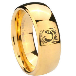 10mm Military Pow Dome Gold Tungsten Carbide Mens Wedding Band