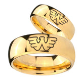Bride and Groom Waylon Jennings Dome Gold Tungsten Carbide Engagement Ring Set