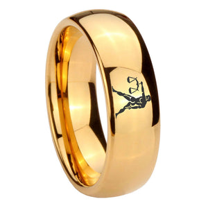 10mm Libra Zodiac Horoscope Dome Gold Tungsten Carbide Mens Ring