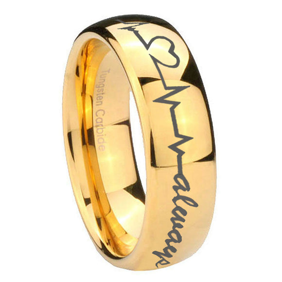 10mm Heart Beat forever Heart always Dome Gold Tungsten Men's Engagement Band