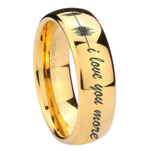 10mm Sound Wave, I love you more Dome Gold Tungsten Carbide Men's Promise Rings