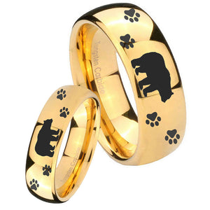 Bride and Groom Bear and Paw Dome Gold Tungsten Carbide Engagement Ring Set