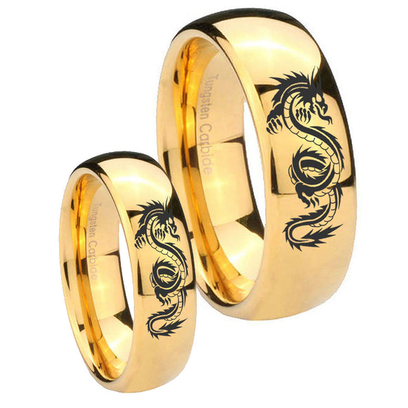 Bride and Groom Dragon Dome Gold Tungsten Carbide Men's Bands Ring Set