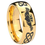 10mm Irish Claddagh Dome Gold Tungsten Carbide Wedding Band Ring