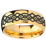 10mm Celtic Knot Dome Gold Tungsten Carbide Custom Ring for Men